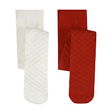 Buy John Lewis Waffle Tights, Pack of 2, Red/White Online at johnlewis.com
