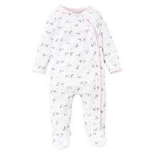 Buy John Lewis Baby Layette Rabbit Print Sleepsuit, White Online at johnlewis.com