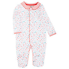 Buy John Lewis Layette Feather Sleepsuit, White/Pink Online at johnlewis.com