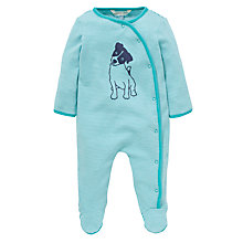 Buy John Lewis Baby Stripe Puppy Print Sleepsuit, Green Online at johnlewis.com