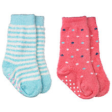 Buy John Lewis Stripe & Spotty Fluffy Socks, Pack of 2, Multi Online at johnlewis.com