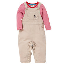 Buy John Lewis Cord Dungarees & T-Shirt Set, Natural/Red Online at johnlewis.com
