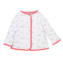 Buy John Lewis Baby Layette Rabbit Quilt Jacket, White/Pink Online at johnlewis.com