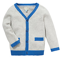 Buy John Lewis Baby V-Neck Cardigan, Grey/Blue Online at johnlewis.com