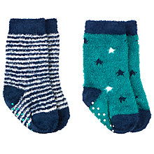 Buy John Lewis Fluffy Cotton Socks, Pack of 2, Blue/Green Online at johnlewis.com