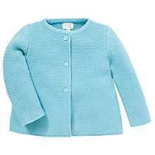 Buy John Lewis Baby Cotton Knit Cardigan, Blue Online at johnlewis.com