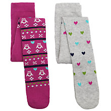 Buy John Lewis Owl Fair Isle Tights, Pack of 2, Multi Online at johnlewis.com