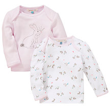 Buy John Lewis Layette Rabbit Top, Pack of 2, Pink/White Online at johnlewis.com