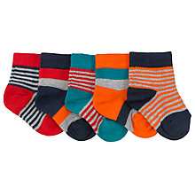 Buy John Lewis Stripe Cotton Socks, Pack of 5, Multi Online at johnlewis.com