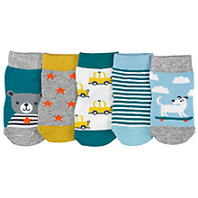 Buy John Lewis Patterned Cotton Socks, Pack of 5 Online at johnlewis.com