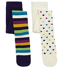 Buy John Lewis Spot & Stripe Colour Tights, Pack of 2, Multi Online at johnlewis.com