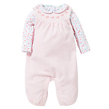 Buy John Lewis Baby Dungarees & T-Shirt Set, Light Pink Online at johnlewis.com