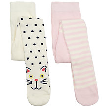 Buy John Lewis Cat & Mouse Tights, Pack of 2, White/Pink Online at johnlewis.com