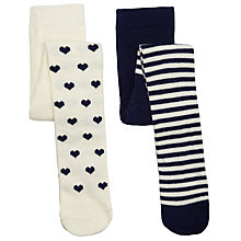Buy John Lewis Stripe & Heart Tights, Pack of 2, Navy/White Online at johnlewis.com