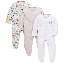 Buy John Lewis Farmyard Sleepsuit, Pack of 3, White/Multi Online at johnlewis.com