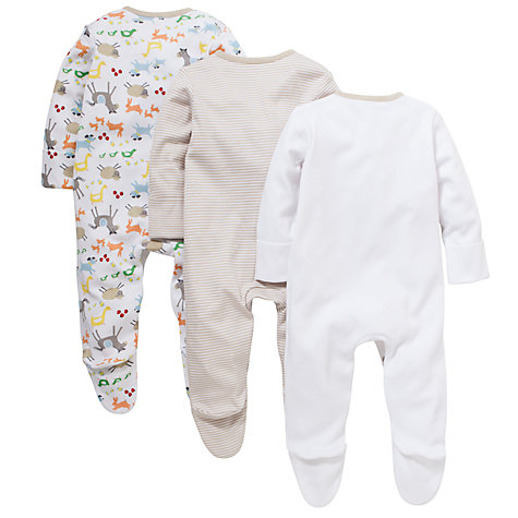 Buy John Lewis Baby Farmyard Sleepsuit, Pack of 3, White/Multi Online at johnlewis.com