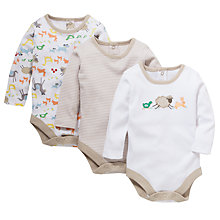 Buy John Lewis Farmyard Bodysuit, Pack of 3, White/Multi Online at johnlewis.com