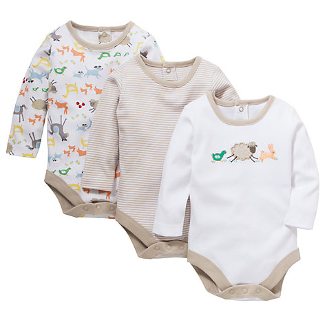 Buy John Lewis Baby Farmyard Bodysuit, Pack of 3, White/Multi Online at johnlewis.com