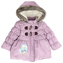 Buy John Lewis Girls' Owl Fur Hood Coat, Lilac Online at johnlewis.com