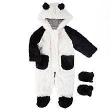 Buy John Lewis Baby's Panda Furry Snowsuit, White/Black Online at johnlewis.com