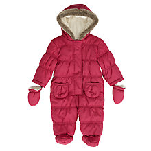 Buy John Lewis Baby Quilted Snowsuit, Berry Online at johnlewis.com