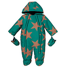 Buy John Lewis Baby Stripe Star Print Snowsuit, Green Online at johnlewis.com