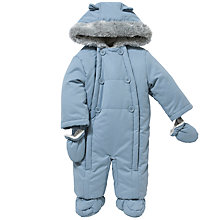 Buy John Lewis Baby Wadded Snowsuit, Blue Online at johnlewis.com