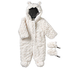 Buy John Lewis Baby Rosebud Faux Fur Snowsuit, White Online at johnlewis.com
