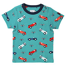 Buy Polarn O. Pyret Baby Car Print T-Shirt, Teal Online at johnlewis.com