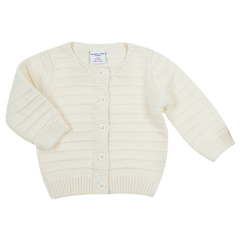Buy Polarn O. Pyret Baby Ribbed Cardigan, White Online at johnlewis.com