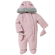 Buy John Lewis Baby Wadded Snowsuit, Dusky Pink Online at johnlewis.com