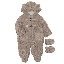 Buy John Lewis Baby Furry Teddy Snowsuit, Brown Online at johnlewis.com