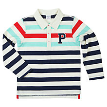 Buy Polarn O. Pyret Baby Long Sleeve Polo Top, Blue/Multi Online at johnlewis.com