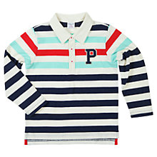 Buy Polarn O. Pyret Long Sleeve Polo Top, Blue/Multi Online at johnlewis.com