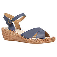 Buy Carvela Kandy Mid Heel Wedges, Navy Online at johnlewis.com