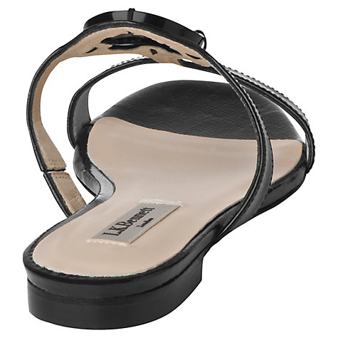 Buy L.K. Bennett Tara Patent Leather Perspex Emblem Flat Sandals Online at johnlewis.com