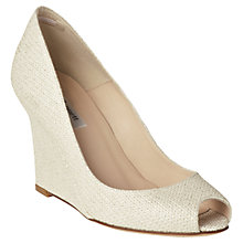 Buy L.K. Bennett Erica Glitter Print Peep Toe Leather Wedge Shoes, Soft Gold Online at johnlewis.com
