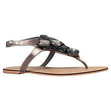 Buy Carvela Kent Jewel Embellished Leather Sandals, Gunmetal Online at johnlewis.com
