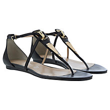 Buy Mint Velvet Kiera Gladiator Leather Sandals, Black / Metallics Online at johnlewis.com