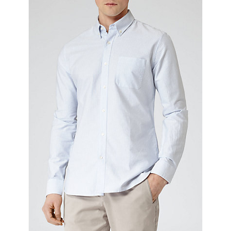 Buy Reiss Dante Button Point Collar Long Sleeve Shirt, Blue Online at johnlewis.com