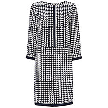 Buy Jaeger Dogtooth Long Sleeve Dress, Ivory / Navy Online at johnlewis.com