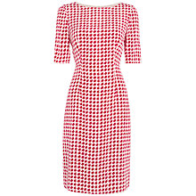 Buy Jaeger Dogtooth Shift Dress, White / Pink Online at johnlewis.com