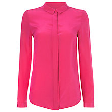 Buy Jaeger Box Pleat Washed Silk Blouse, Raspberry Online at johnlewis.com