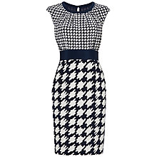 Buy Jaeger Dogtooth Mixed Scale Dress, Ivory / Navy Online at johnlewis.com