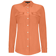 Buy Jaeger Patch Pocket Silk Blouse, Coral Online at johnlewis.com