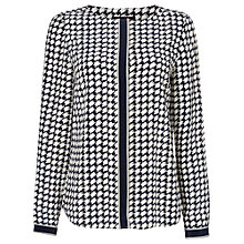 Buy Jaeger Small Dogtooth Blouse, Ivory / Navy Online at johnlewis.com