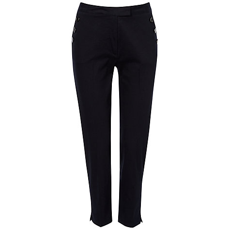 Buy Jaeger Button Pocket Capri Trousers, Navy Online at johnlewis.com