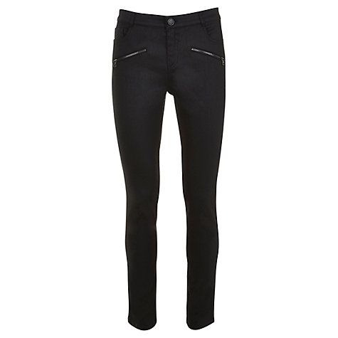 Buy Mint Velvet Coated Zip Jeans, Black Online at johnlewis.com
