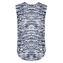 Buy Mango Printed Linen Top, Navy Online at johnlewis.com
