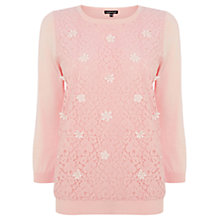 Buy Warehouse Bead Lace Front Jumper, Light Pink Online at johnlewis.com